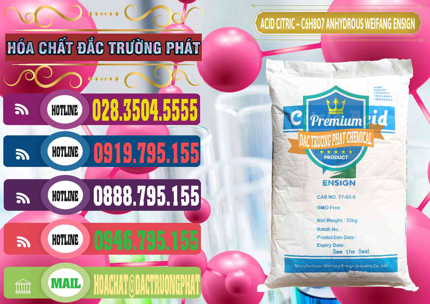 Acid Citric Khan Anhydrous - C6H8O7 Weifang Food Grade Trung Quốc China